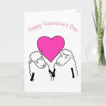Cute Cartoon Lambs Valentine Card