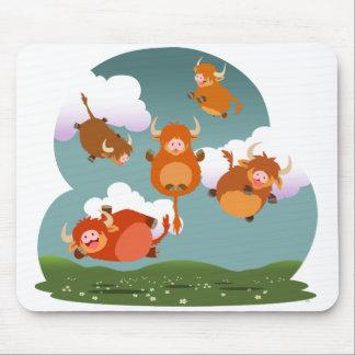Cute Cartoon Levitating Highland Cows Mousepad