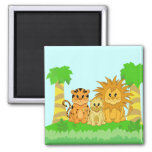 Cute Cartoon Liger with Mummy and Daddy 2 Inch Square Magnet