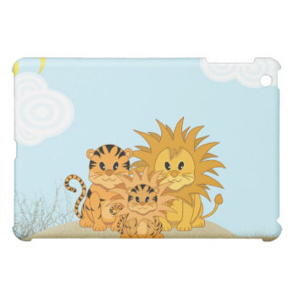 Cute Cartoon Liger with Mummy and Daddy Cover For The iPad Mini