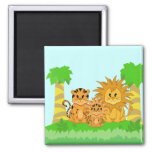 Cute Cartoon Liger with Mummy and Daddy Fridge Magnet