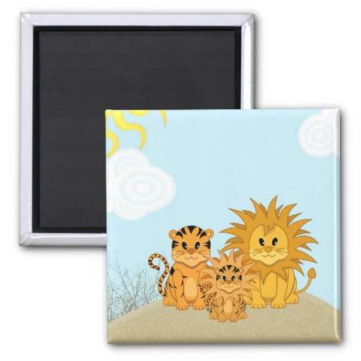 Cute Cartoon Liger with Mummy and Daddy Refrigerator Magnets