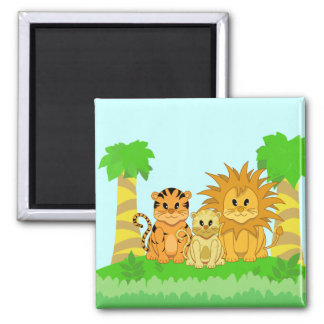 Cute Cartoon Liger with Mummy and Daddy Refrigerator Magnet