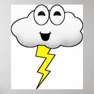 Cute Cartoon Lightning Cloud Poster