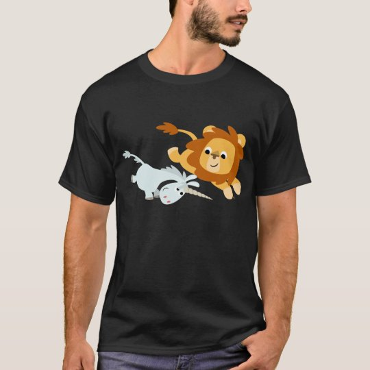 Cute Cartoon Lion and Unicorn T-shirt