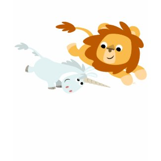 Cute Cartoon Lion and Unicorn woman T-shirt shirt