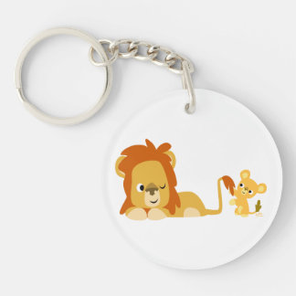 Cute Cartoon Lion Dad and Cub Acrylic Keychain