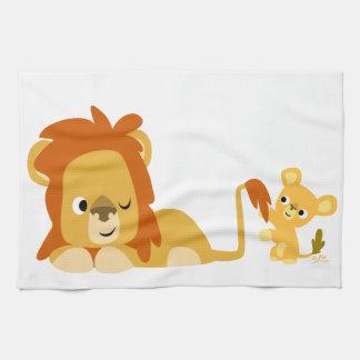 Cute Cartoon Lion Dad and Cub Kitchen Towel