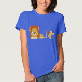 Cute Cartoon Lion Dad and Cub Women T-shirt
