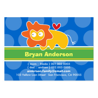Cute Cartoon Lion Kid Photo Profile Calling Card Large Business Cards (Pack Of 100)