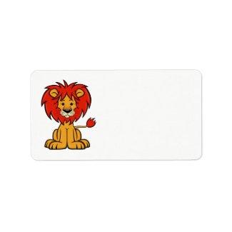 Cute Cartoon Lion Label