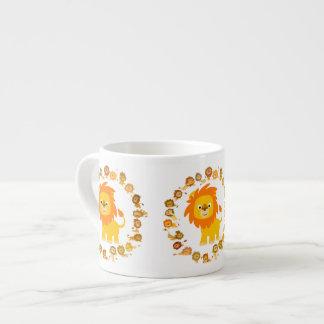 Cute Cartoon Lion Mandala Espresso Mug