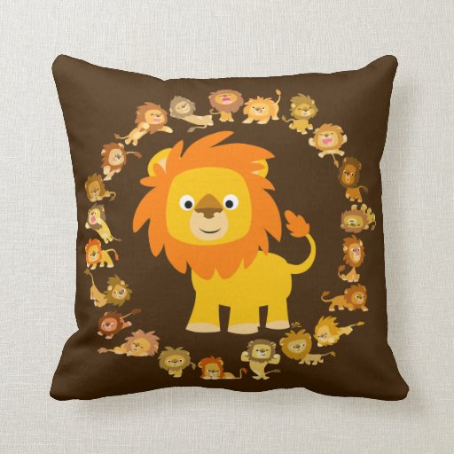 Cute Lion Pillow : Cute Cartoon Lion Mandala Pillow Zazzle