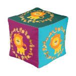 Cute Cartoon Lion Mandala Square Pouf Cube Pouf