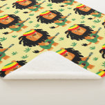 Cute Cartoon Lion Of Zion Sherpa Blanket