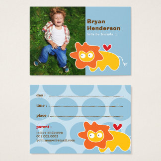 Cute Cartoon Lion Photo Kid's Playdate Card