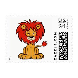 Cute Cartoon Lion Postage Stamp