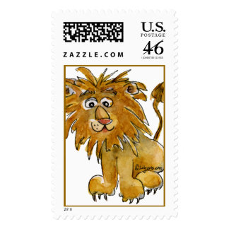 Cute Cartoon Lion Postage Stamps