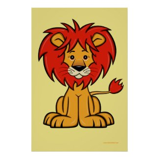 Cute Cartoon Lion Poster