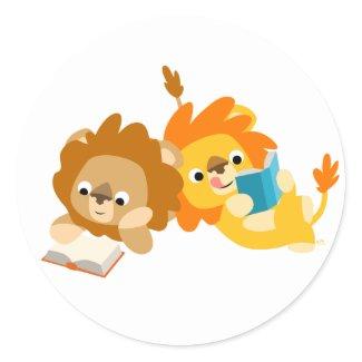 Cute Cartoon Lion Readers sticker sticker