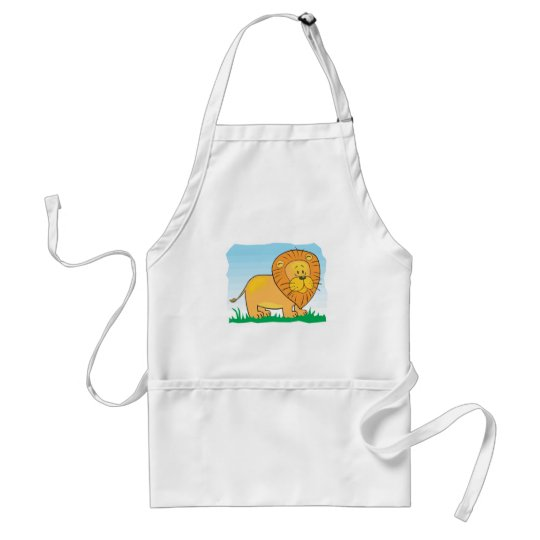 cute cartoon lion scene adult apron
