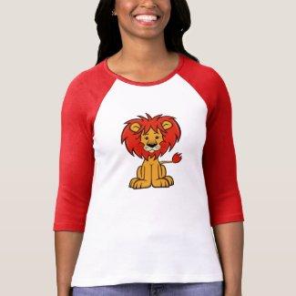 Cute Cartoon Lion Women's 3/4 Sleeve Raglan T-Shirt