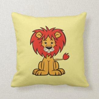 Cute Cartoon Lion Throw Pillow