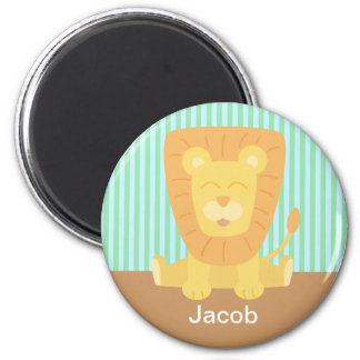 Cute Cartoon Lion with stripes background Magnet