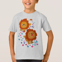 Cute Cartoon Lions In The Garden Children T-Shirt