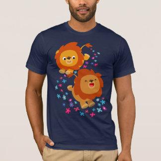 Cute Cartoon Lions In The Garden T-Shirt