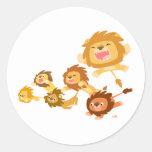 Cute Cartoon Lions' Parade Sticker