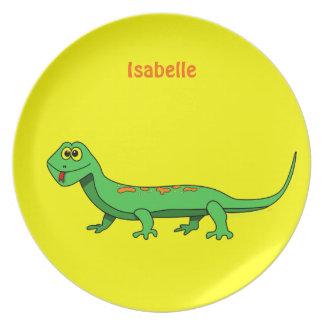 Cute Cartoon Lizard Custom Name Dinner Plate