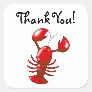 Cute cartoon lobster thank you square sticker
