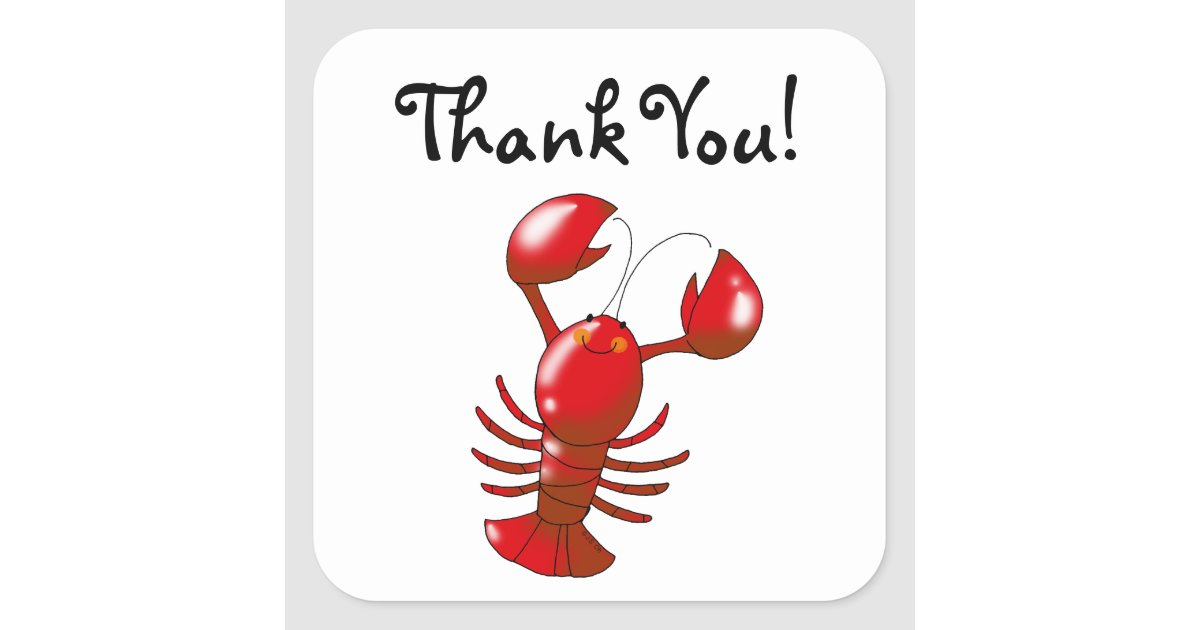 Cute cartoon lobster thank you square sticker | Zazzle.com
