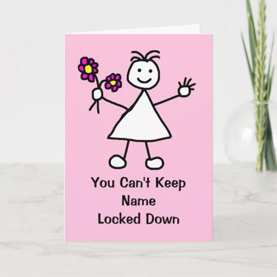 Cute Cartoon Lock Down Girl Card