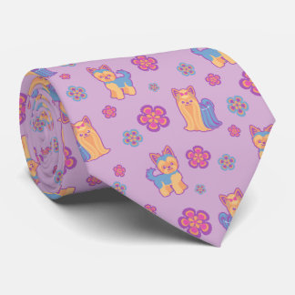 Cute Cartoon Long and Short Hair Yorkie Dog Neck Tie