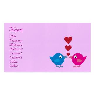 Cute Cartoon Love Birds & Hearts Business Card