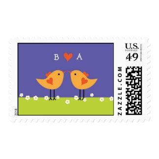 Cute Cartoon Love Birds (Night) Wedding Postage