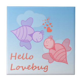 Cute Cartoon Love Bugs Cartoon in Pink and Purple Ceramic Tile