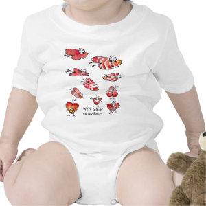 Cute Cartoon Love Hearts Baby Onesies shirt