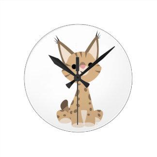 Cute Cartoon Lynx Wall Clock