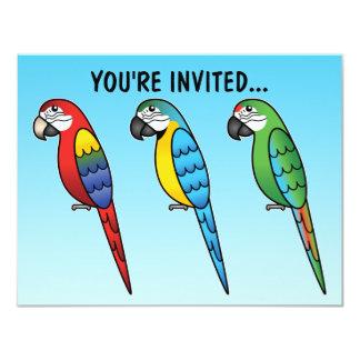 Cute Cartoon Macaw Parrot Birds Custom Announcements