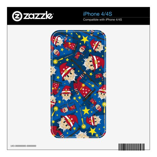 Cute Cartoon Magical Wizard Pattern Skins For The iPhone 4S