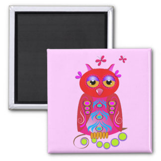 Cute Cartoon magnet with decorative Owl