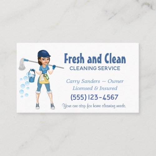 Cute Cartoon Maid House Cleaning Service Business Card