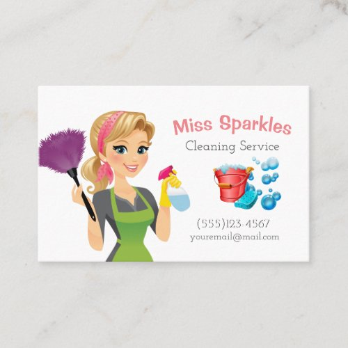 Cute Cartoon Maid House Cleaning Services Business Card