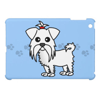 Cute Cartoon Maltese Dog - Blue with Paw prints iPad Mini Cases