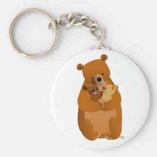 Cute Cartoon Mama Bear and cubs keychain