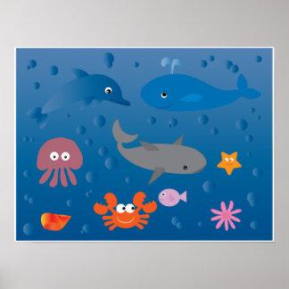 Cute cartoon marine life poster for kids
