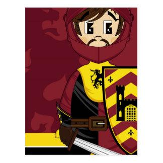 Cute Cartoon Medieval Crusader Knight Postcard
